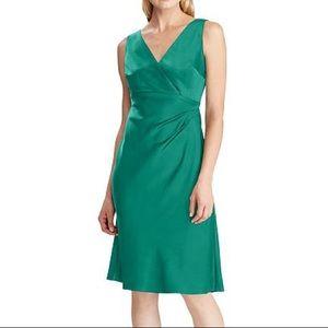 NWT Lauren Ralph Lauren Green Satin Cocktail Dress